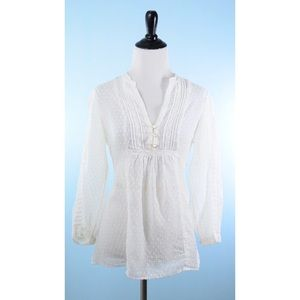JOIE White Swiss Dot Blouse Small